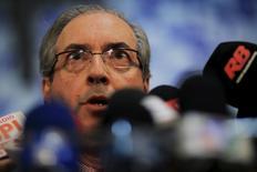 Eduardo Cunha, presidente da Câmara, falando a jornalistas durante coletiva em Brasília. 12/05/2015 REUTERS/Ueslei Marcelino