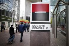La Société générale a annoncé jeudi la cession des 7,04% du capital de Sopra Steria Group détenus via sa filiale à 100% Géninfo. /Photo prise le 7 mai 2015/REUTERS/Charles Platiau