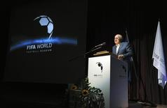 FIFA President Sepp Blatter speaks during an event for workers building the planned FIFA museum in Zurich June 25, 2015. REUTERS/Kurt Schorrer