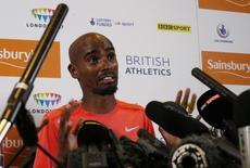 Athletics - IAAF Diamond League 2015 - Sainsbury's Birmingham Grand Prix Preview Press Conferences - Birmingham - 6/6/15 Great Britain's Mo Farah during a press conference  Action Images via Reuters / Andrew Boyers Livepic