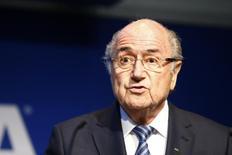 Blatter concede entrevista na sede da Fifa, em Zurique. 2/6/2015. REUTERS/Ruben Sprich
