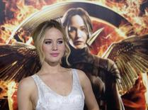 """Cast member Jennifer Lawrence poses at the premiere of """"The Hunger Games: Mockingjay - Part 1"""" in Los Angeles, California, in this file photo taken November 17, 2014.  REUTERS/Mario Anzuoni/Files"""