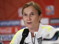 United States head coach Jill Ellis responds to a question during a press conference after a training session for the 2015 Women's World Cup at B.C. Place. Michael Chow-USA TODAY Sports