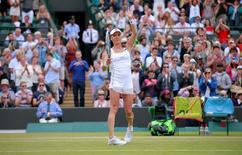 Tennis - Wimbledon - All England Lawn Tennis & Croquet Club, Wimbledon, England - 7/7/15 Women's Singles - Poland's Agnieszka Radwanska celebrates winning her quarter final match  Mandatory Credit: Action Images / Andrew Couldridge Livepic EDITORIAL USE ONLY.