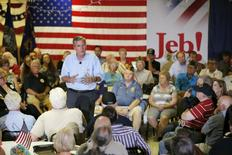 Republican presidential candidate Jeb Bush speaks during town hall campaign stop at the VFW Post in Hudson, New Hampshire, July 8, 2015. REUTERS/Brian Snyder