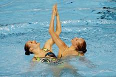 Jacqueline Simoneau and Karine Thomas of Canada compete in the synchronized swimming duets during the 2015 Pan Am Games at Pan Am Aquatics UTS Centre and Field House. Mandatory Credit: Rob Schumacher-USA TODAY Sports