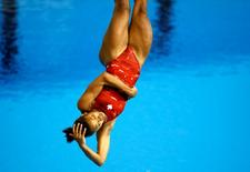 Jennifer Abel of Canada competes in the women's 3m springboard final during the 2015 Pan Am Games at Pan Am Aquatics UTS Centre and Field House. Mandatory Credit: Rob Schumacher-USA TODAY Sports