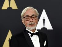 Honoree Japanese film director and animator Hayao Miyazaki poses during the Academy of Motion Picture Arts and Sciences Governors Awards in Los Angeles, California November 8, 2014.  REUTERS/Kevork Djansezian