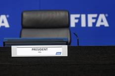 The empty seat of FIFA President Sepp Blatter is pictured before a news conference after the Extraordinary FIFA Executive Committee Meeting at the FIFA headquarters in Zurich, Switzerland July 20, 2015. REUTERS/Arnd Wiegmann