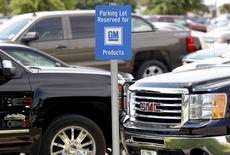 A sign indicating parking for GM cars is seen at the General Motors Assembly Plant in Arlington, Texas June 9, 2015.  REUTERS/Mike Stone