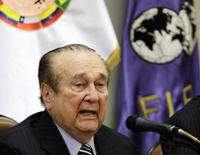 Nicolas Leoz speaks during a news conference in Asuncion April 23, 2013. REUTERS/Jorge Adorno