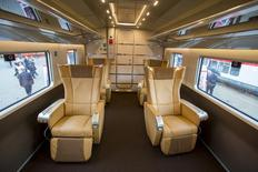 A picture shows the executive class compartment aboard a Frecciarossa 1000 high-speed train by Bombardier Transportation at the InnoTrans railway technology trade fair in Berlin, September 25, 2014.  REUTERS/Thomas Peter
