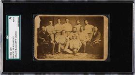 Card de beisebol mostrando jogadores do Brooklyn Atlantics nos anos 1860, em foto de divulgação. 30/07/2015 REUTERS/Heritage Auction/Divulgação via Reuters