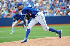 Aug 3, 2015; Toronto, Ontario, CAN; Toronto Blue Jays opening pitcher David Price (14) pitches in the fourth inning against Minnesota Twins at Rogers Centre. Mandatory Credit: Peter Llewellyn-USA TODAY Sports