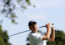 Aug 7, 2015; Akron, OH, USA; Jim Furyk tees off on the eleventh hole during the second round of the World Golf Championships - Bridgestone Invitational at Firestone Country Club - South Course. Aaron Doster-USA TODAY Sports