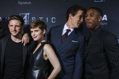 Membros do elenco Jamie Bell, Kate Mara, Miles Teller e Michael B. Jordan durante evento em Nova York.   05/08/2015   REUTERS/Lucas Jackson