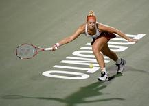 Aug 10, 2015; Toronto, Ontario, Canada; Sabine Lisicki of Germany hits a shot against Venus Williams of the United States during the Rogers Cup tennis tournament at Aviva Centre. Mandatory Credit: Dan Hamilton-USA TODAY Sports