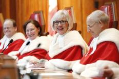 Chief Justice Beverley McLachlin (2nd R) takes part in a ceremony at the Supreme Court of Canada in Ottawa February 10, 2015.     REUTERS/Blair Gable