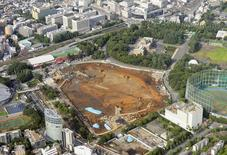 An aerial view shows the planned construction site (C) for the new National Stadium for 2020 Tokyo Olympics and Paralympics, in Tokyo, in this photo taken by Kyodo July 17, 2015. Mandatory credit REUTERS/Kyodo