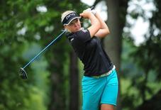 Jul 12, 2015; Lancaster, PA, USA; Brooke Henderson tees off the second hole during the final round of the U.S. Women's Open at Lancaster Country Club. Mandatory Credit: Evan Habeeb-USA TODAY Sports