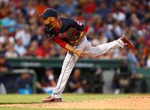 Aug 17, 2015; Boston, MA, USA; Cleveland Indians starting pitcher Danny Salazar (31) pitches against the Boston Red Sox during the second inning at Fenway Park. Mandatory Credit: Mark L. Baer-USA TODAY Sports