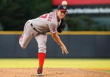 Aug 19, 2015; Denver, CO, USA; Washington Nationals starting pitcher Stephen Strasburg (37) delivers a pitch during the first inning against the Colorado Rockies at Coors Field. Chris Humphreys-USA TODAY Sports