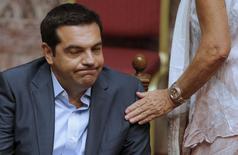 Primeiro-ministro da Grécia, Alexis Tsipras, durante sessão do Parlamento em Atenas. 14/08/2015 REUTERS/Christian Hartmann