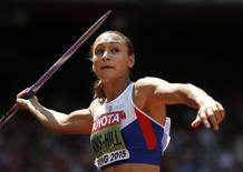 Jessica Ennis-Hill of Britain competes in the javelin throw event of the women's heptathlon during the 15th IAAF World Championships at the National Stadium in Beijing, China, August 23, 2015. REUTERS/Phil Noble