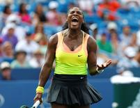 Aug 23, 2015; Cincinnati, OH, USA; Serena Williams (USA) reacts to a shot in the tiebreaker against Simona Halep (not pictured) in the finals during the Western and Southern Open tennis tournament at the Linder Family Tennis Center.  Aaron Doster-USA TODAY Sports
