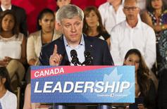 Canada's Prime Minister Stephen Harper speaks during a campaign stop at the WaterStone Estate and Farms in King Township, Ontario, August 20, 2015. REUTERS/Mark Blinch
