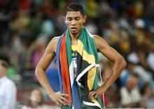 Wayde Van Niekerk of South Africa reacts after winning the men's 400m final during the 15th IAAF World Championships at the National Stadium in Beijing, China August 26, 2015. REUTERS/Lucy Nicholson