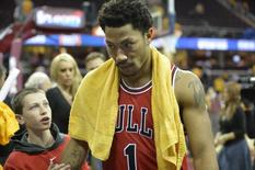 May 4, 2015; Cleveland, OH, USA; Chicago Bulls guard Derrick Rose (1) walks off the court after a 99-92 win over the Cleveland Cavaliers in game one of the second round of the NBA Playoffs at Quicken Loans Arena. Mandatory Credit: David Richard-USA TODAY Sports