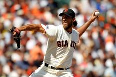 Aug 27, 2015; San Francisco, CA, USA; San Francisco Giants pitcher Madison Bumgarner (40) prepares to deliver a pitch against the Chicago Cubs in the sixth inning at AT&T Park. The Giants defeated the Cubs 9-1. Mandatory Credit: Cary Edmondson-USA TODAY Sports