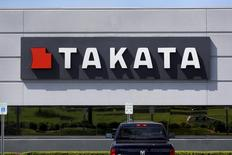 A sign with the Takata logo is seen on the building of the Takata Corporation in Auburn Hills, Michigan May 20, 2015.    REUTERS/Rebecca Cook