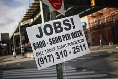 Le secteur privé aux Etats-Unis a créé 190.000 emplois en août, selon l'enquête mensuelle du cabinet spécialisé ADP publiée mercredi. Les économistes s'attendaient en moyenne à 201.000 créations d'emplois. /Photo d'archives/REUTERS/Shannon Stapleton