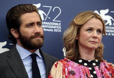 """Cast members Jake Gyllenhaal (L) and Emily Watson pose during the photocall for the movie """"Everest"""" at the 72nd Venice Film Festival, northern Italy September 2, 2015.  REUTERS/Stefano Rellandini"""