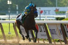 Jun 6, 2015; Elmont, NY, USA; American Pharoah with Victor Espinoza wins the 2015 Belmont Stakes at Belmont Park. Brad Penner-USA TODAY Sports