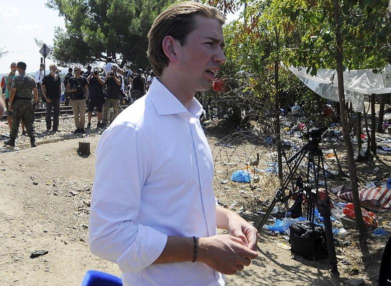 Austrian Foreign Minister Sebastian Kurz speaks to the media at the Greek-Macedonian border line, near Gevgelija, in Macedonia August 24, 2015. REUTERS/Ognen Teofilovski