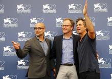 "Ator Tucci, diretor McCarthy e ator Ruffalo posam em Veneza para divulgar ""Spotlight"".  3/9/2015.   REUTERS/Stefano Rellandini"