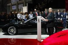 Ferrari S.p.A. CEO Amedeo Felisa addresses media during the first press day ahead of the 85th International Motor Show in Geneva March 3, 2015. REUTERS/Arnd Wiegmann