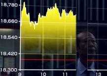 Un peatón se refleja en un tablero electrónico que muestra el índice Nikkei de Japón, afuera de una correduría en Tokio, Japón, 27 de agosto de 2015. Las bolsas de Asia operaban sometidas el lunes, sin contar con una dirección clara en momentos en que las acciones en Shanghái entraban y salían de territorio negativo después de que los mercados chinos reanudaron sus actividades tras un fin de semana de cuatro días. REUTERS/Yuya Shino