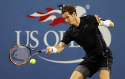 Andy Murray of Great Britain returns a shot to Kevin Anderson of South Africa on day eight of the 2015 U.S. Open tennis tournament at USTA Billie Jean King National Tennis Center. Mandatory Credit: Jerry Lai-USA TODAY Sports