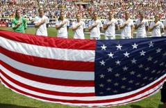 Aug 16, 2015; Pittsburgh, PA, USA; The United States Womens soccer team stands for the national anthem before playing Costa Rica at Heinz Field. Mandatory Credit: Charles LeClaire-USA TODAY Sports
