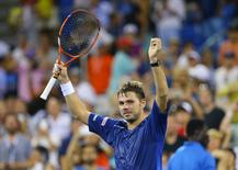 Sep 9, 2015; New York, NY, USA; Stan Wawrinka of Switzerland celebrates after defeating Kevin Anderson of South Africa on day ten of the 2015 U.S. Open tennis tournament at USTA Billie Jean King National Tennis Center. Mandatory Credit: Jerry Lai-USA TODAY Sports