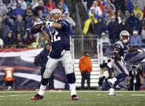 Sep 10, 2015; Foxborough, MA, USA; New England Patriots quarterback Tom Brady (12) throws the ball against the Pittsburgh Steelers during the second half at Gillette Stadium. Mandatory Credit: Mark L. Baer-USA TODAY Sports