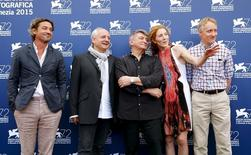 "Cast members (L-R) Louis-Do de Lencquesaing, Vincent Nemeth, director Alexander Sokurov, actress Johanna Korthals Altes and actor Benjamin Utzerath pose during a photocall for the movie ""Francofonia"" at the 72nd Venice Film Festival in northern Italy September 4, 2015. REUTERS/Stefano Rellandini"