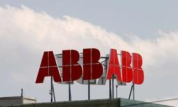 The logo of Swiss engineering group ABB is seen in Baden near Zurich, Switzerland, in this July 14, 2015 file photo. REUTERS/Arnd Wiegmann/Files