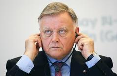 "Russian Railways President Vladimir Yakunin adjusts his earphones as he addresses a news conference at the German-Russian Forum in Berlin, May 15, 2014. Yakunin, a confidant of Russian President Vladimir Putin, accused the West on Thursday of trying to impose decadent values on the rest of the world, saying the bearded drag queen who won the Eurovision Song Contest last weekend symbolised its ""ethno-fascism"". REUTERS/Fabrizio Bensch (GERMANY - Tags: BUSINESS TRANSPORT POLITICS HEADSHOT)"