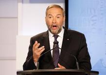 Canada's New Democratic Party (NDP) leader Thomas Mulcair speaks during the Maclean's National Leaders debate in Toronto, August 6, 2015. REUTERS/Mark Blinch