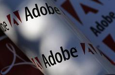 Adobe est l'une des valeurs à suivre vendredi sur les marchés américains au lendemain de la publication de résultats trimestriels supérieurs aux estimations, portés par des abonnements meilleurs qu'attendu à sa suite logicielle Creative Cloud. Le titre cédait toutefois 2,6% dans les transactions hors séance, les prévisions pour le trimestre en cours étant inférieures aux attentes. /Photo d'archives/REUTERS/Leonhard Foeger